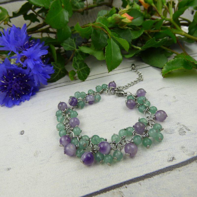 bracelet en pierres naturelles d'améthyste et aventurine