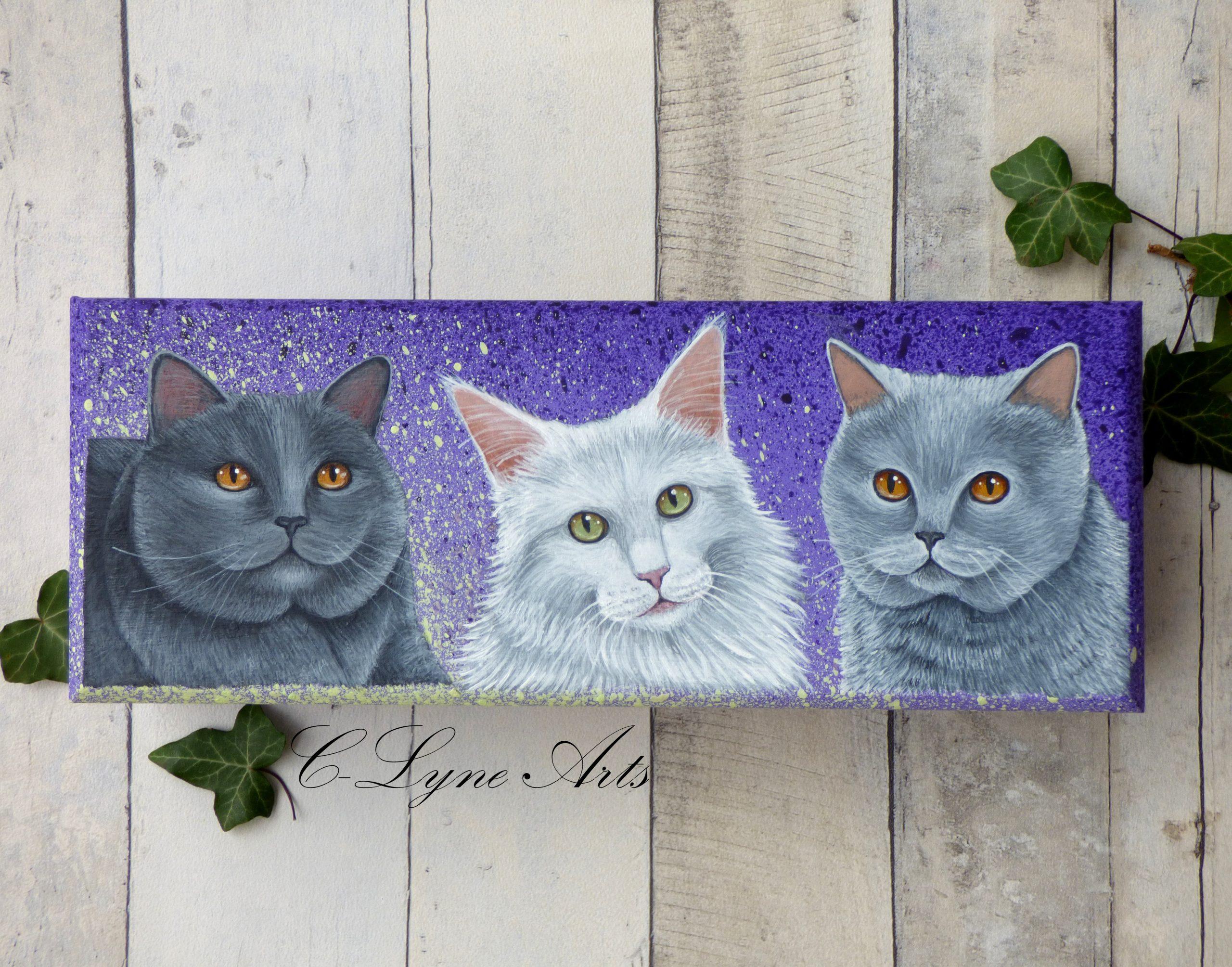 coffret à bijoux en bois avec chats peint à la main