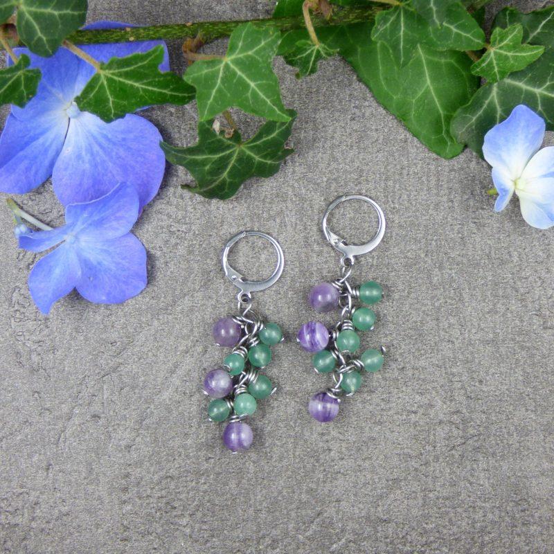 bijou fait main en pierres naturelle d'aventurine et amethyste