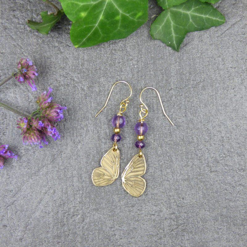 boucles d'oreilles en pierres naturelles et ailes de fees
