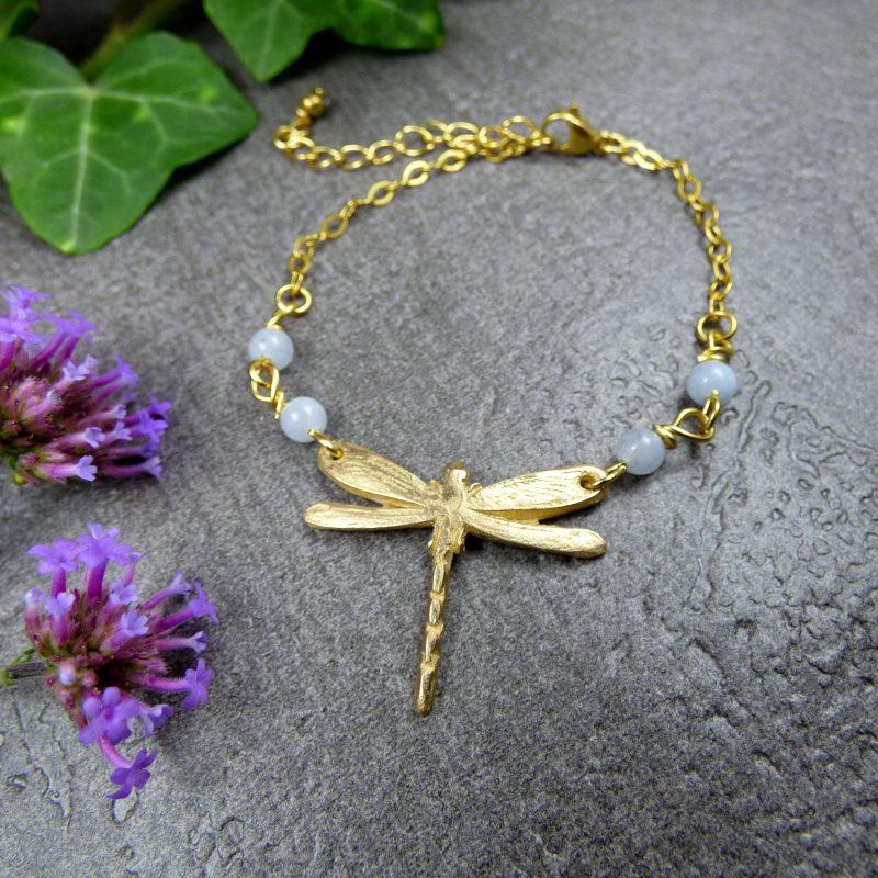 bijou feerique avec libellule fait main en bronze