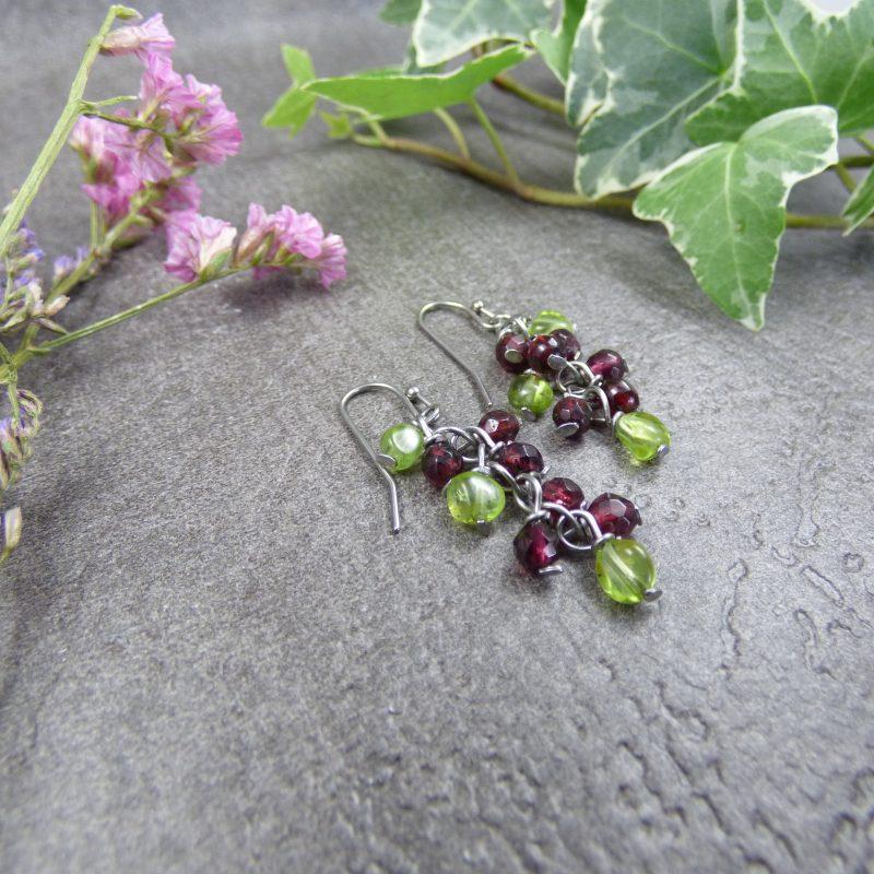 boucles d'oreilles en pierres naturelles de grenat