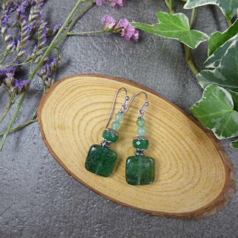 boucles d'oreilles en pierres naturelles d'aventurine