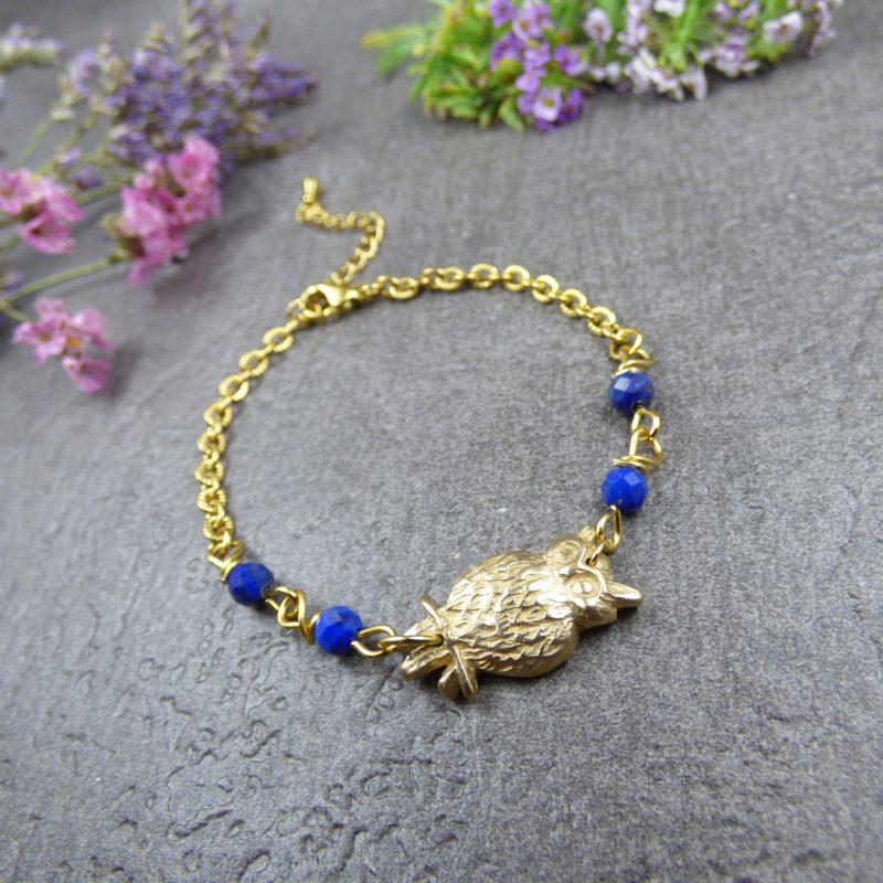 bracelet fait main en lapis lazuli et hibou