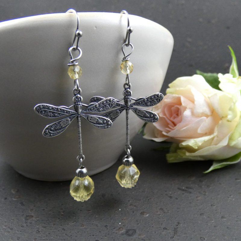 boucles d'oreilles en pierre de citrine et libellules